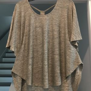 Tops - Gray Shirt with Open Back & Jeweled Detail